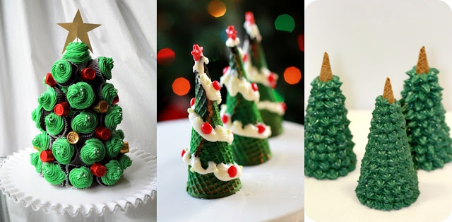 Christmas tree out of ice cream cones and cupcakes.jpg