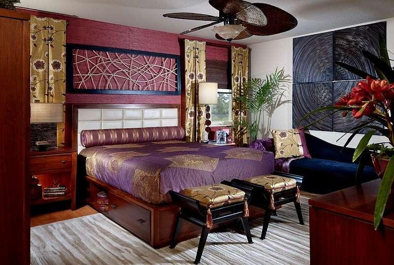 Huzur veren asya stili yatak odaları