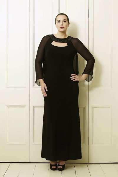 büyük beden siyah uzun elbise