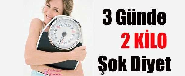 3 Günde 2 Kilo Verdiren Şok Diyet Listesi