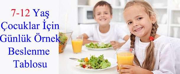 7-12 Yaş Çocuğun Beslenmesi İçin Günlük Menü