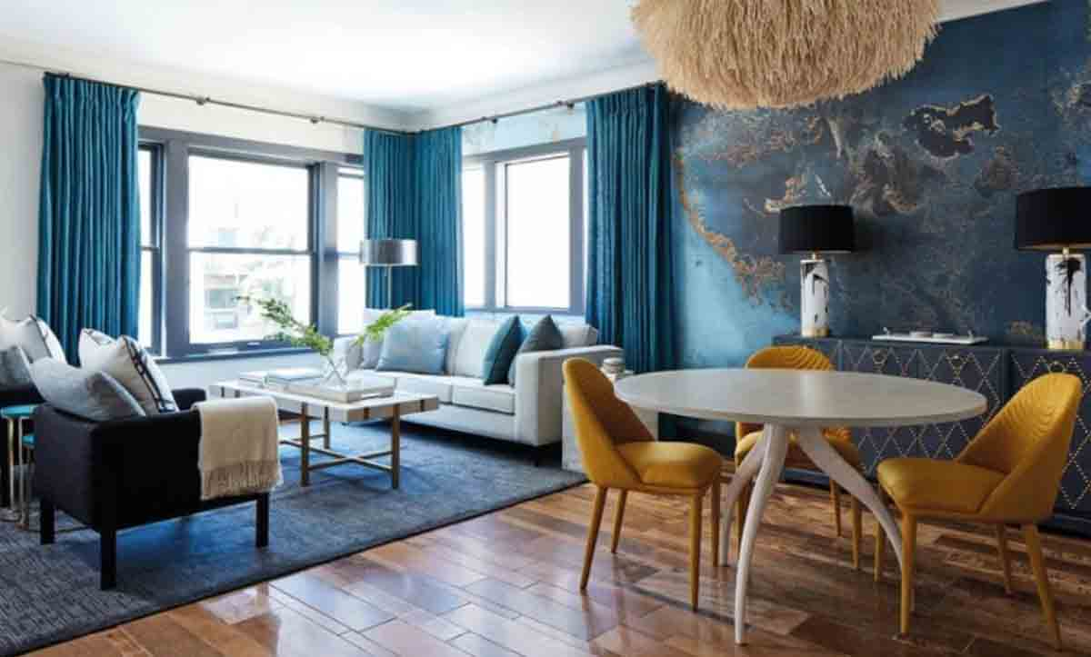 Mavi Renk Salon Dekorasyonu Fikirleri