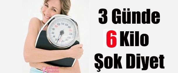 3 Günde 6 Kilo Verdiren Süper Diyet Listesi